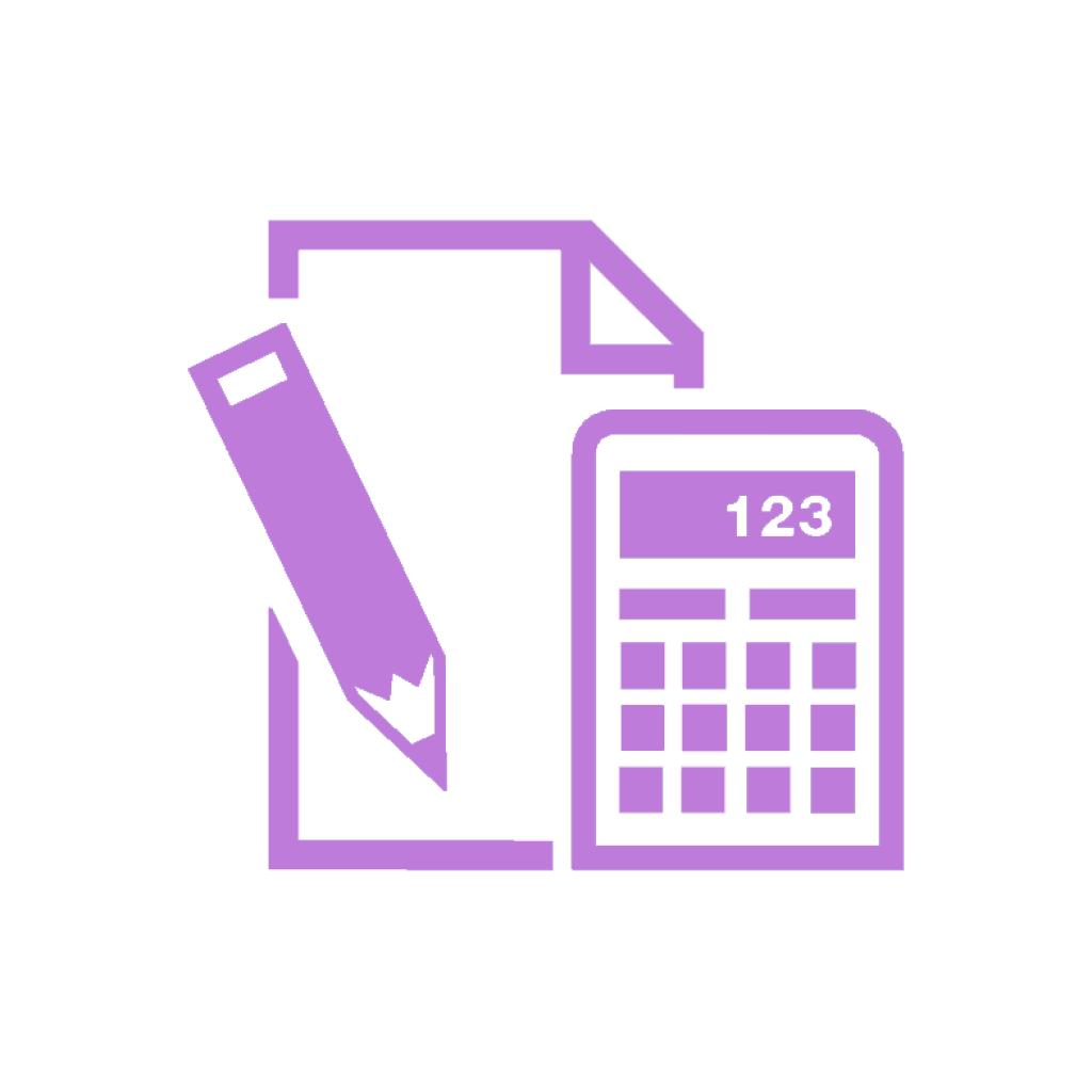 icon calculator, pen and paper
