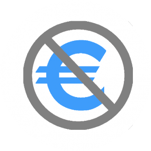 icon crossed euro symbol