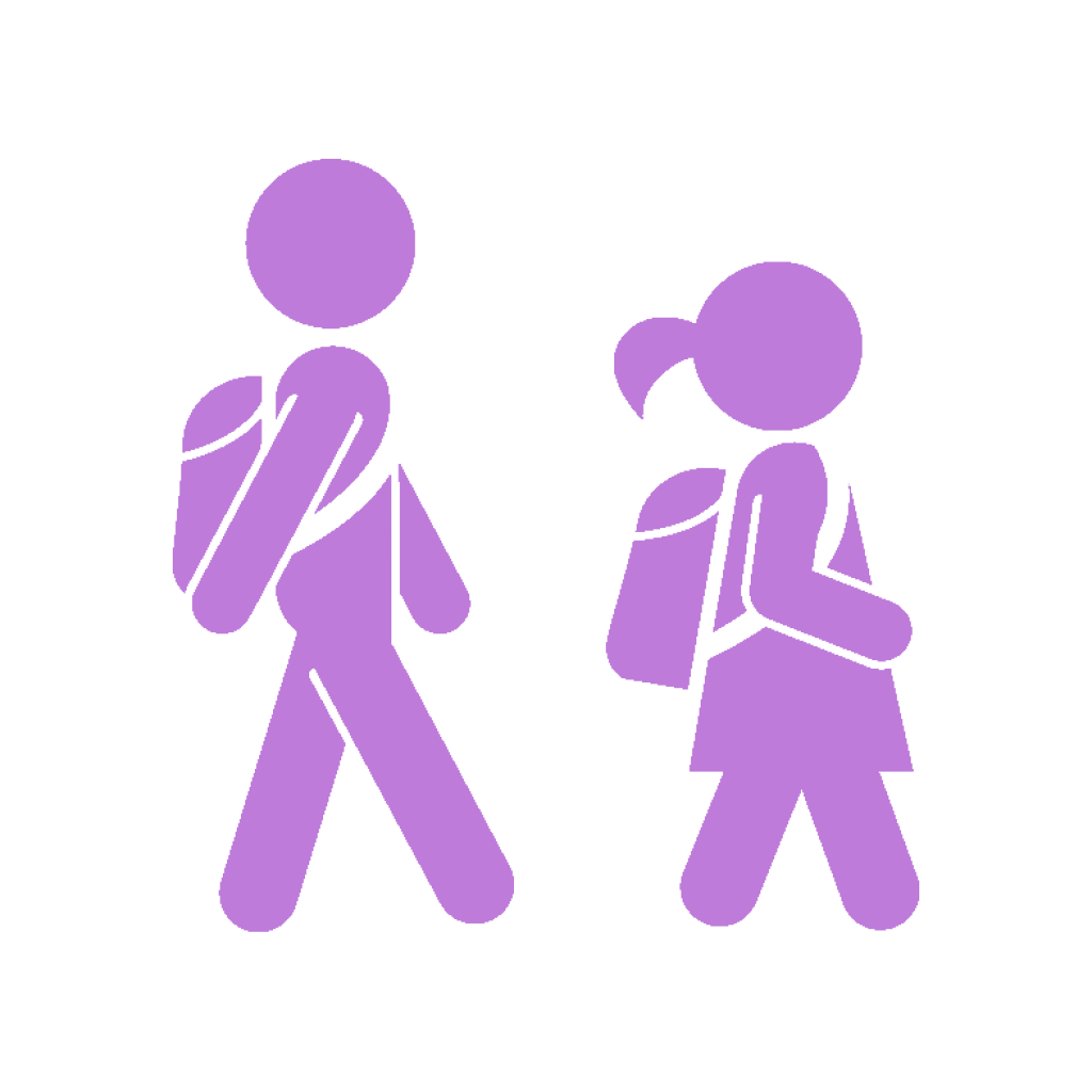icon young people with backpacks